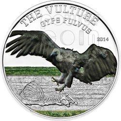GRIFONE Gyps Fulvus Predator Hunter Moneta Argento 1000 Shillings Tanzania 2014