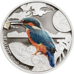 EUROPEAN KINGFISHER Colorful Birds Серебро Монета 5 D Андора 2014