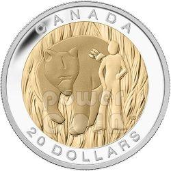 BEAR Seven Sacred Teachings Prime Nazioni Orso Coraggio Moneta Argento 20$ Canada 2014