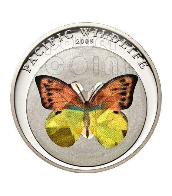 BUTTERFLY ORANGE Pacific Wildlife Moneda Plata Prism 5$ Palau 2008