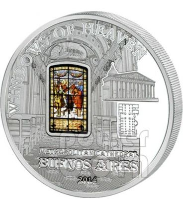 WINDOWS OF HEAVEN METROPOLITAN CATHEDRAL Buenos Aires Silver Coin 10$ Cook Islands 2014