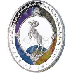 CAPRA Goat Lunar Five Elements Year Moneta Argento 2$ Tokelau 2015