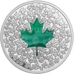 MAPLE LEAF IMPRESSION Green Enamel Silver Coin 20$ Canada 2014