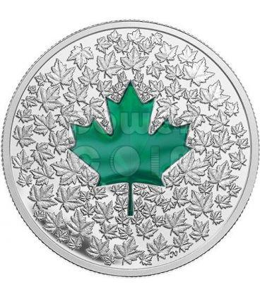 MAPLE LEAF IMPRESSION Foglia Acero Verde Moneta Argento 20$ Canada 2014