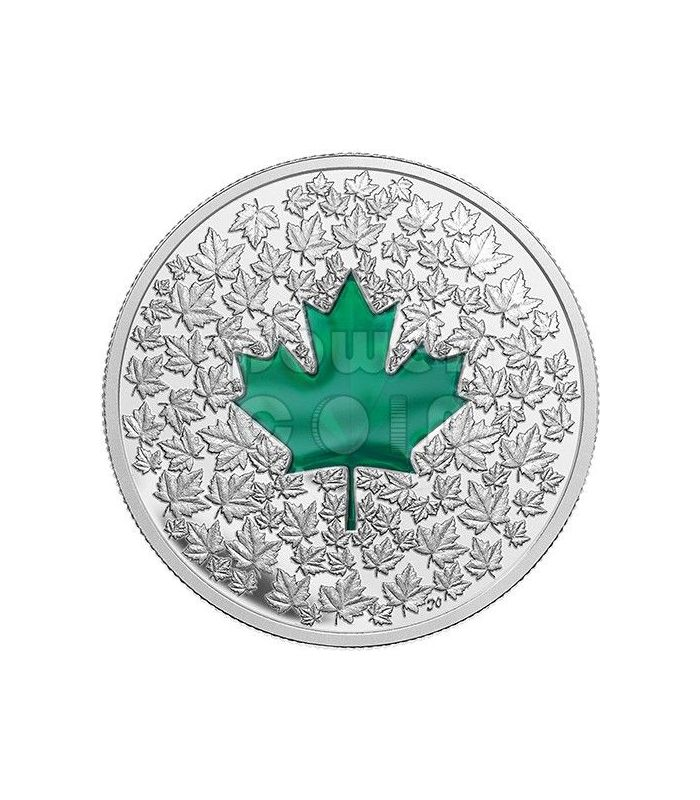 Maple Leaf Impression Green Enamel Silver Coin 20 Canada