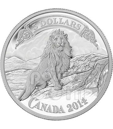 LION ON THE MOUNTAIN Bank Notes Series Silver Coin 5$ Canada 2014