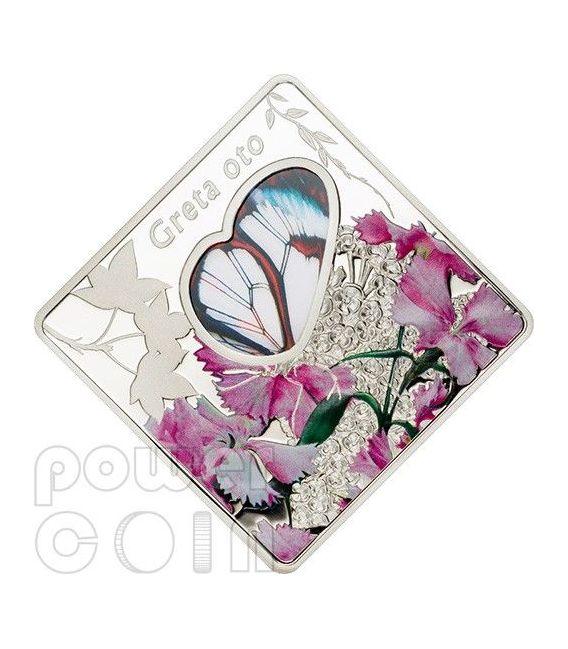 GRETA OTO Glasswing Butterfly Animals In Glass Moneda Plata 10$ Palau 2014