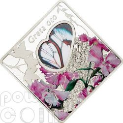 GRETA OTO Glasswing Butterfly Animals In Glass Серебро Монета 10$ Палау 2014