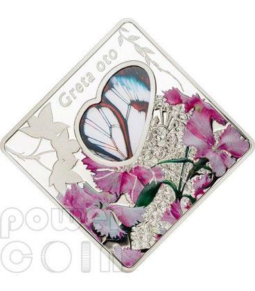 GRETA OTO Farfalla Ali di Vetro Butterfly Moneta Argento 10$ Palau 2014