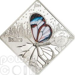 GRETA OTO Glasswing Butterfly Animals In Glass Silber Münze 10$ Palau 2014