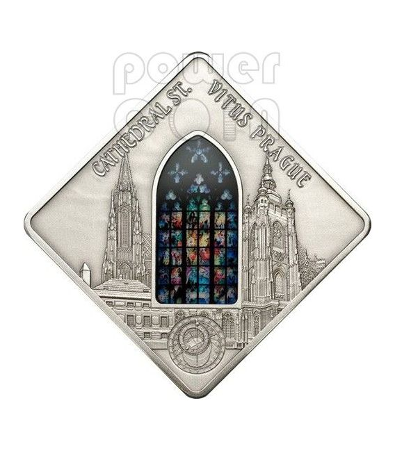 ST. VITUS Prague Cathedral Mucha Holy Windows Silver Coin 10$ Palau 2013