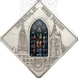 ST. VITUS Prague Cathedral Mucha Holy Windows Серебро Монета 10$ Палау 2013