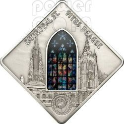 St. VITUS Prague Cathedral Mucha Holy Windows Silver Coin 10$ Palau 2013
