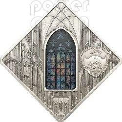 ST. VITUS Prague Cathedral Mucha Holy Windows Silber Münze 10$ Palau 2013