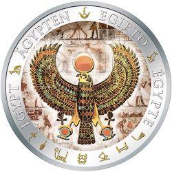 FALCON PECTORAL Tutankhamun Gilded Egypt Silver Coin 1$ Fiji 2012