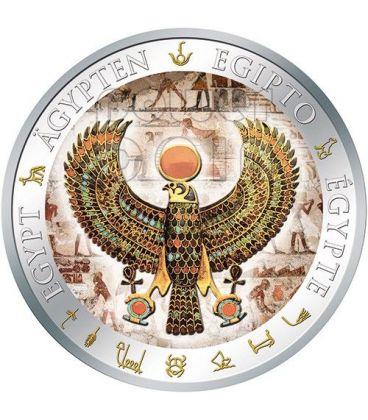 PETTORALE FALCO Falcon Pectoral Tutankhamon Dorata Egitto Moneta Argento 1$ Fiji 2012