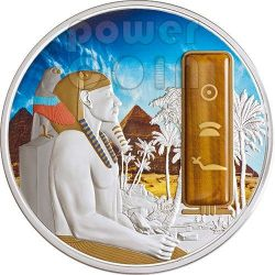 KHAFRA Chefren Egypt Pharaoh Silver Palladium Gold Tiger Eye Gemstone Coin 2 Oz 50$ Fiji 2013