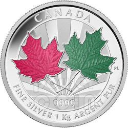 MAPLE LEAF FOREVER 1 Kg Kilo Red Green Enamel Fine Серебро Kilogram Монета 250$ Канада 2014