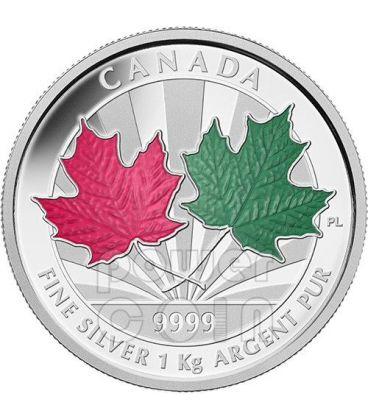 MAPLE LEAF FOREVER 1 Kg Kilo Red Green Enamel Fine Silver Kilogram Coin 250$ Canada 2014