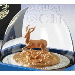 AFRICAN SPRINGBOK THREE DIMENSIONAL 3D Antelope 3 Oz Silver Coin 2000 Francs Gabon 2014