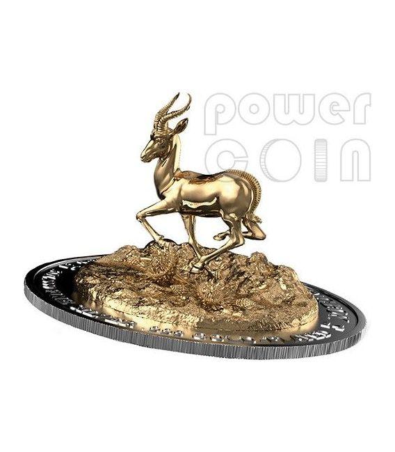 AFRICAN SPRINGBOK TRIDIMENSIONALE 3D Antilope Moneta Argento 3 Oz 2000 Franchi Gabon 2014