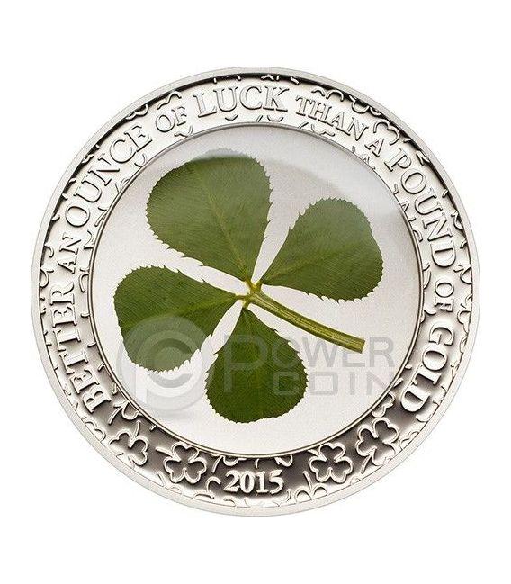FOUR LEAF CLOVER Ounce Of Luck Silver Coin 1 Oz 5$ Palau 2015