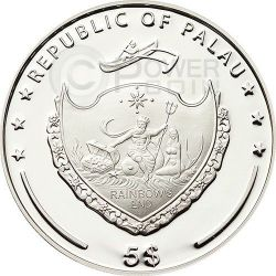 QUADRIFOGLIO PORTAFORTUNA Moneta Argento 5$ Palau 2015