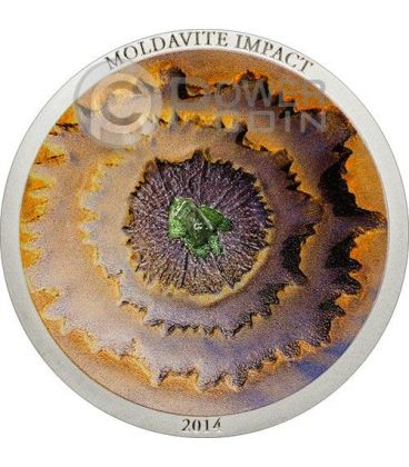MOLDAVITE IMPACT Meteorite Moneta Argento 5$ Cook Islands 2014
