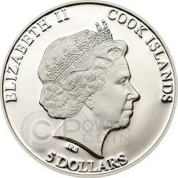 MOLDAVITE IMPACT Meteorite Moneda Plata 5$ Cook Islands 2014