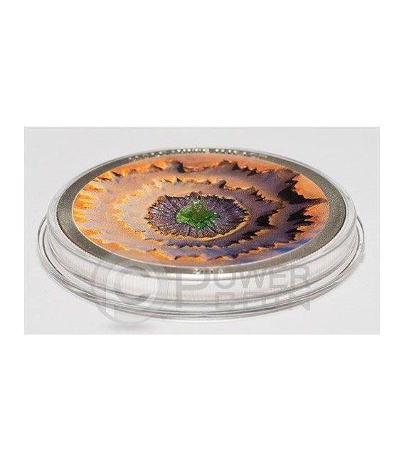 MOLDAVITE IMPACT Meteorite Silber Münze 5$ Cook Islands 2014
