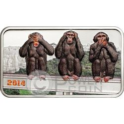 TRE SCIMMIE SAGGE Three Wise Monkeys Moneta Argento 1000 Shillings Tanzania 2014