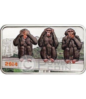 TRE SCIMMIE SAGGE Three Wise Monkeys Moneta Argento 1000 Shillings Tanzania 2014