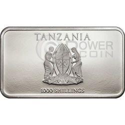 THREE WISE MONKEYS Moneda Plata 1000 Shillings Tanzania 2014