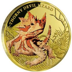 DIAVOLO SPINOSO Thorny Devil Lizard Remarkable Reptiles Moneta Oro 1oz 100$ Niue 2015