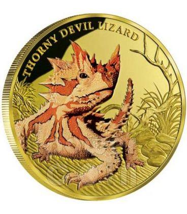 DIAVOLO SPINOSO Thorny Devil Lizard Remarkable Reptiles Moneta Oro 1oz 100$ Niue 2015