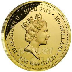 THORNY DEVIL LIZARD Remarkable Reptiles 1oz Oro Proof Moneda 100$ Niue 2015