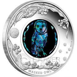 MASKED OWL Opal Australian Opals Series Silver Coin 1$ Australia 2014