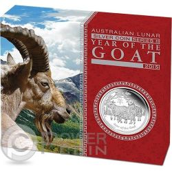 CAPRA Goat Lunar Serie Moneta Argento Proof 1 Oz 1$ Australia 2015