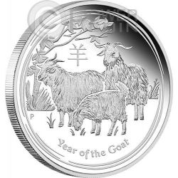GOAT Lunar Year Series 1 Oz Plata Proof Moneda 1$ Australia 2015