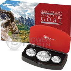 GOAT Lunar Year Series Three 3 Münzen Set Silber Proof Australia 2015
