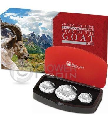 CAPRA Goat Lunar Serie Set 3 Monete Argento Proof Australia 2015