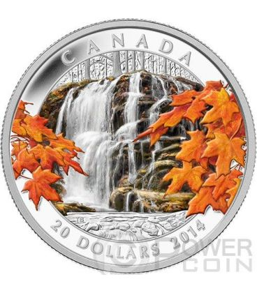 AUTUMN FALLS Canada Atmospheric Seasons Silver Proof Coin 20$ Canada 2014