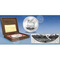 AFRICAN SPRINGBOK Antelope 5 oz Moneda Plata 3000 Francs Gabon 2014