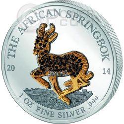 AFRICAN SPRINGBOK PAVE SET Antelope Five 5 Silver Coins 1000 Francs Gabon 2014
