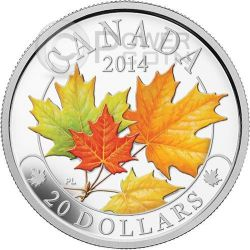 MAPLE LEAF MAJESTIC Foglia Acero Colorata Moneta Argento 20$ Canada 2014
