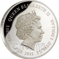 MAHOGANY GLIDER Extinct Endangered 1 oz Plata Proof Moneda 1$ Tuvalu 2015
