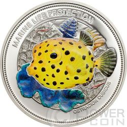 YELLOW BOXFISH Marine Life Protection Silver Coin 5$ Palau 2014