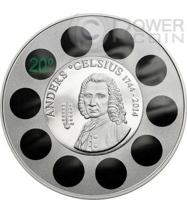 ANDERS CELSIUS Termometro Moneta Argento 5$ Cook Islands 2014