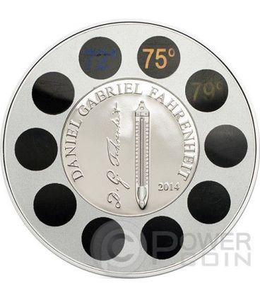 DANIEL GABRIEL FAHRENHEIT Thermometer Silver Coin 5$ Palau 2014