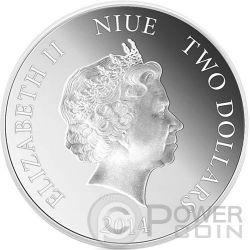 HALLOWEEN Glow In The Dark Jack O Lantern 1 oz Moneda Plata 2$ Niue 2014